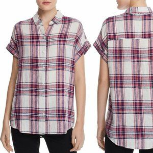Beach Lunch Lounge Crimson Linen SS Plaid Top